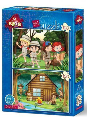Art Çocuk Puzzle İzci Kampı 2x100 Parça Puzzle