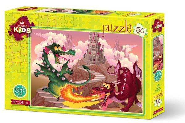 Art Çocuk Puzzle Ejderhalar 50 Parça Puzzle