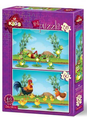 Art Çocuk Puzzle Hayvanlar ve Yavruları 35+60 Parça Puzzle