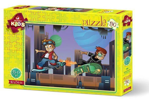 Art Çocuk Puzzle Kaykaycı Çocuklar 50 Parça Puzzle