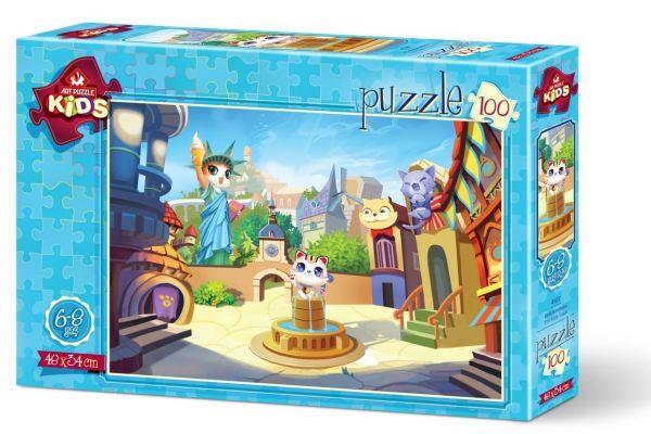 Art Çocuk Puzzle Kedi Kasabası 100 Parça Puzzle