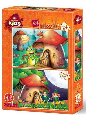 Art Çocuk Puzzle Mantar Ev 24+35 Parça Puzzle