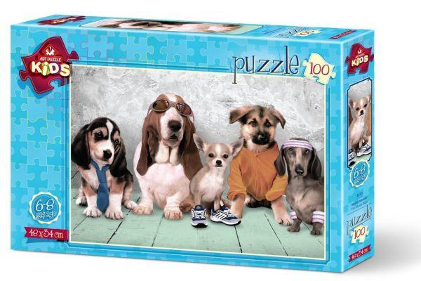 Art Çocuk Puzzle Model Köpekler 100 Parça Puzzle