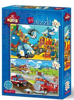 Art Çocuk Puzzle Polis ve İtfaiye 2x100 Parça Puzzle