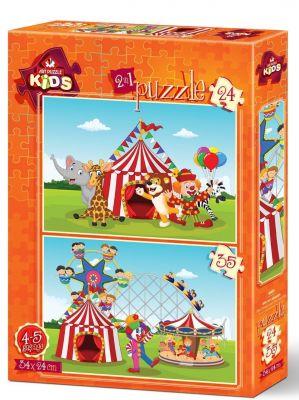 Art Çocuk Puzzle Sirk ve Lunapark 24+35 Parça Puzzle