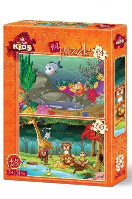 Art Çocuk Puzzle Su Altı ve Orman Hayvanları 24+35 Parça Puzzle