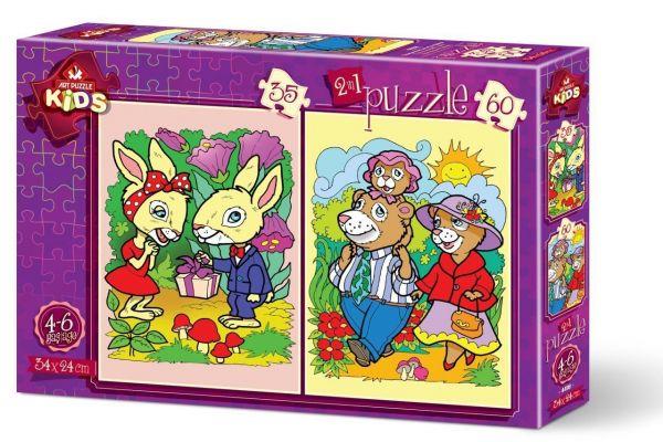 Art Çocuk Puzzle Tavşanlar ve Ayı Ailesi 35+60 Parça Puzzle