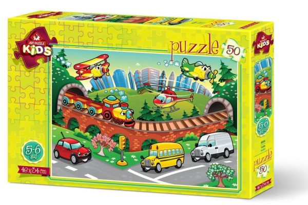 Art Çocuk Puzzle Trafik 50 Parça Puzzle