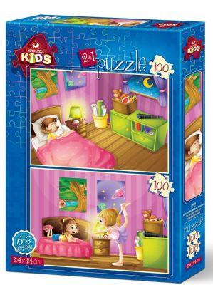 Art Çocuk Puzzle Uyku Vakti ve Bale Provası 2x100 Parça Puzzle