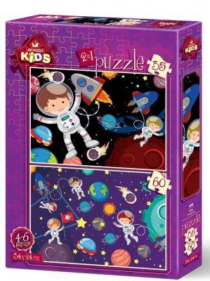 Art Çocuk Puzzle Uzay 35+60 Parça Puzzle