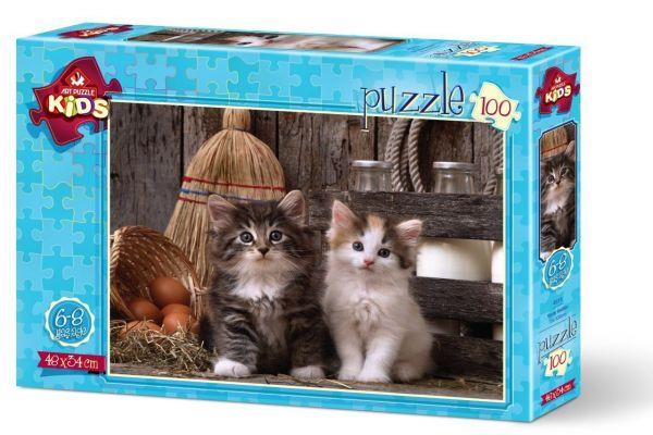 Art Çocuk Puzzle Yavru Kediler 100 Parça Puzzle