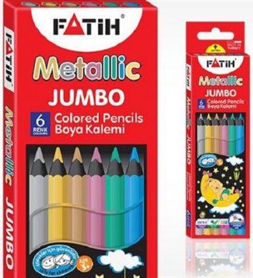 Fatih Jumbo Metalik Renkli Kuru Boya Kalemi Tam Boy 6 lı 33360