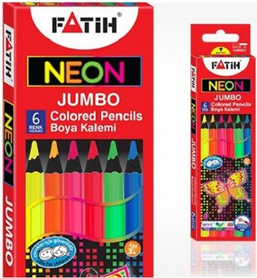 Fatih Jumbo Neon Renkli Kuru Boya Kalemi Tam Boy 6 lı 33385