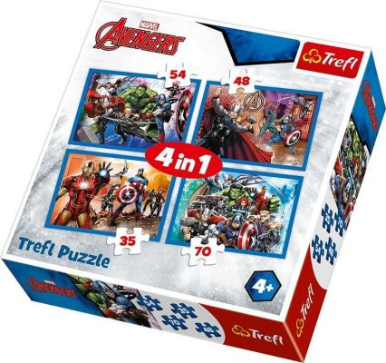 Trefl Çocuk Puzzle Fearless Avengers / Disney Marvel The 35+48+54+70 Parça 4 in 1 Puzzle
