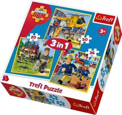 Trefl Çocuk Puzzle Fireman Sam in Action / Prism A&D Fir 20+36+50 Parça 3 in 1 Puzzle