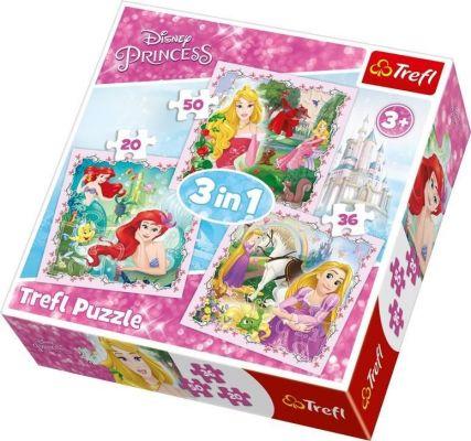 Trefl Çocuk Puzzle Rapunzel, Aurora and Ariel / Disney P 20+36+50 Parça 3 in 1 Puzzle