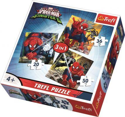 Trefl Çocuk Puzzle Spidermans\'s World, Disney 20+36+50 Parça 3 in 1 Puzzle