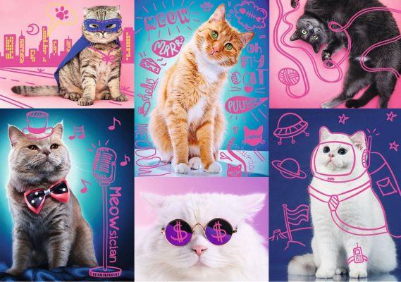 Trefl Puzzle Super Cats 1000 Parça Neon Renkli