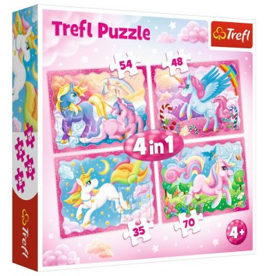 Trefl Puzzle The Magical World of Unicorns 4\'lü 35+48+54+70 Parça Yapboz