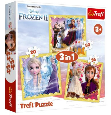 Trefl Puzzle The Power of Anna and Elsa Frozen II 3\'lü 20+36+50 Parça Yapboz