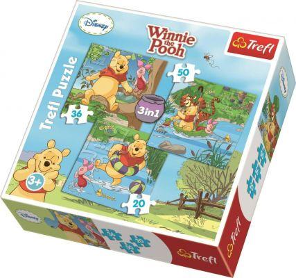 Winnie The Pooh Let\'s Play 3\'lü 20+36+50 Parça Yapboz