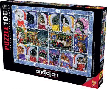 Anatolian Yeni Yıl Kedileri 1000 Parça Puzzle - Yapboz